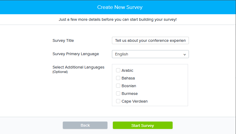 Create Multilingual New Survey